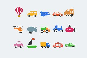 15 Cartoon Transport Icons