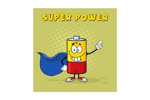 Smiling Battery Character Super Hero