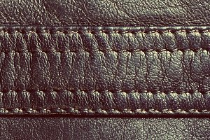 Genuine vintage leather with seam