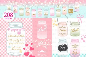 Mason Jars, Digital Jar Clip Art
