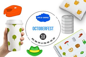 Octoberfest icons set, cartoon style