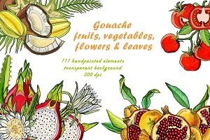 Gouache fruits and vegetables