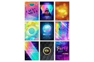 Party vector pattern disco club or nightclub poster background and night clubbing or nightlife backdrop illustration set of dancing and glittering discoball template