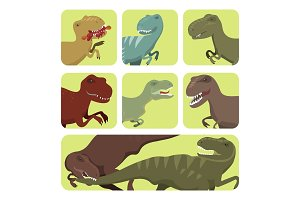 Scary dinosaurs vector tyrannosaurus cards t-rex danger creature force wild jurassic predator prehistoric extinct illustration