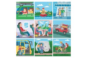 Travelling people vector traveler or tourist character travellng by train or plane and couple with kids on car or seaboat trip vacation illustration set