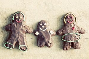 Gingerbread family. Handmade