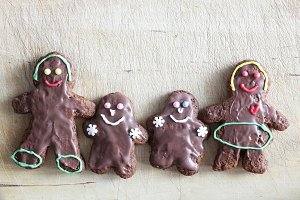 Gingerbread family of four. Handmade
