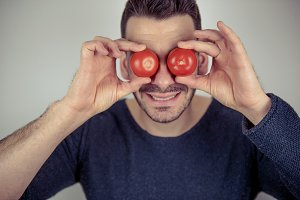 You have tomatoes on your eyes