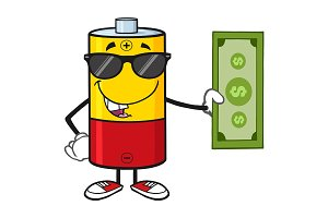 Battery Character With Sunglasses