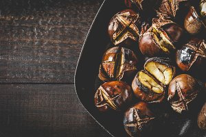 Roasted edible chestnuts
