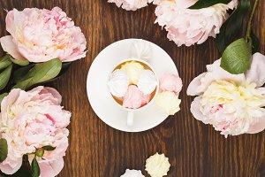 Pink and white meringues and peonies