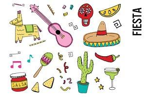 Bright Fiesta Doodle Clip Art