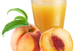Peach juice with ripe peach on a white background.