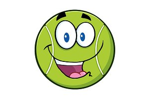 Cute Tennis Ball Cartoon Character