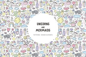 Mermaids & Unicorns Doodles Pattern