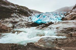 Nigardsbreen glacier and river