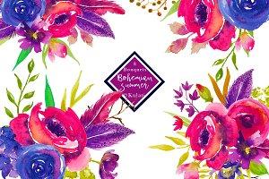 8 Watercolor Bouquets Clipart