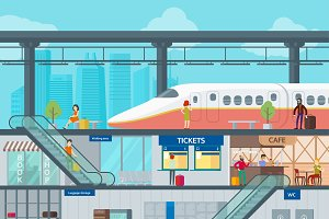 Colorful Train Station Flat Template