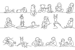 Bundle Cute baby line drawing