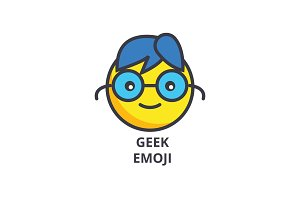 geek emoji vector line icon, sign, illustration on background, editable strokes