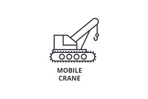 mobile crane vector line icon, sign, illustration on background, editable strokes