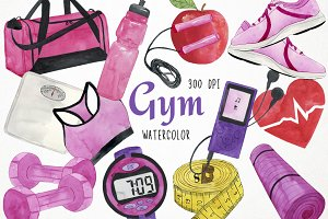 Watercolor Fitness Clipart