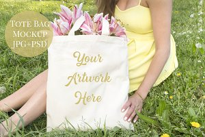 Tote Bag mockup - Yellow Dress