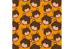 grizzly bear heads pattern background