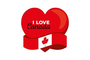 canada flag with heart shape