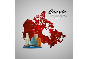 canadian cityscape scene and map