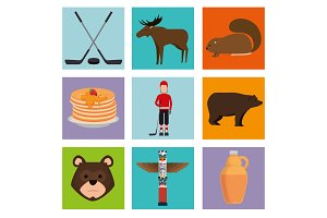 canadian culture set icons