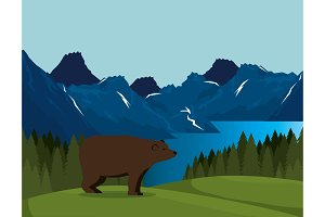 canadian landscape with grizzly bear scene