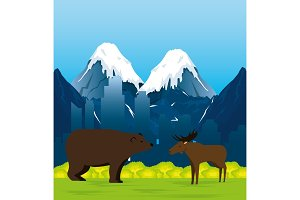 canadian landscape with moose and grizzly bear scene