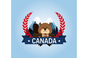 beaver canadian animal scene