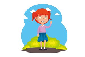 little girl happy character