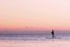 Paddle boarding SUP Stock Photo