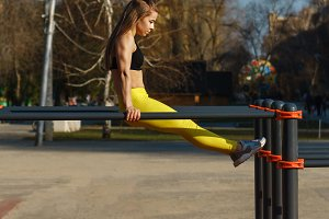 Girl on street workout