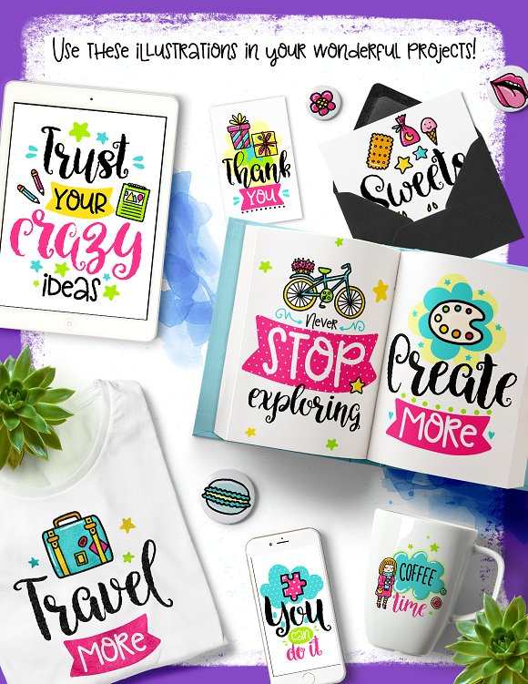 30 Funny Color Cards with Quote in Card Templates - product preview 1