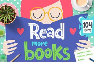 Read More Books - Clipart Collection