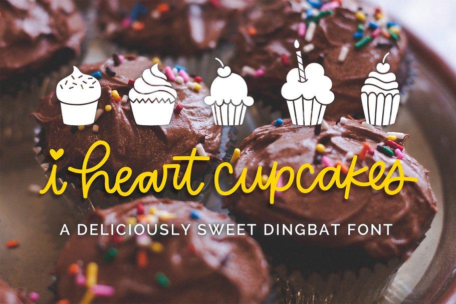 I Heart Cupcakes Dingbat Font ~ Symbol Fonts ~ Creative Market