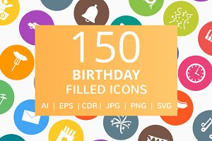150 Birthday Filled Round Icons