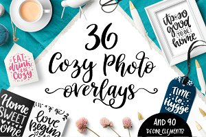 36 Cozy Photo Overlays with Clipart!