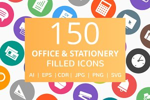 150 Office & Stationery Filled Icons