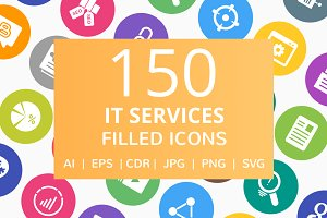 150 IT Services Filled Round Icons