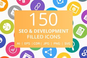 150 SEO & Development Filled Icons