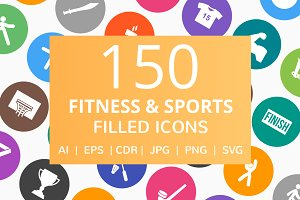 150 Fitness & Sports Filled Icons