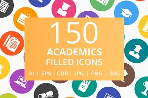 150 Academics Filled Round Icons