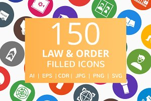 150 Law & Order Filled Round Icons