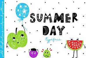 Summer Day Typeface with Clipart!