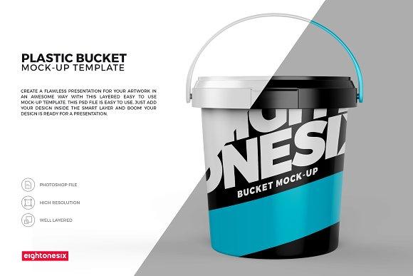 Plastic Bucket Mock-Up Template